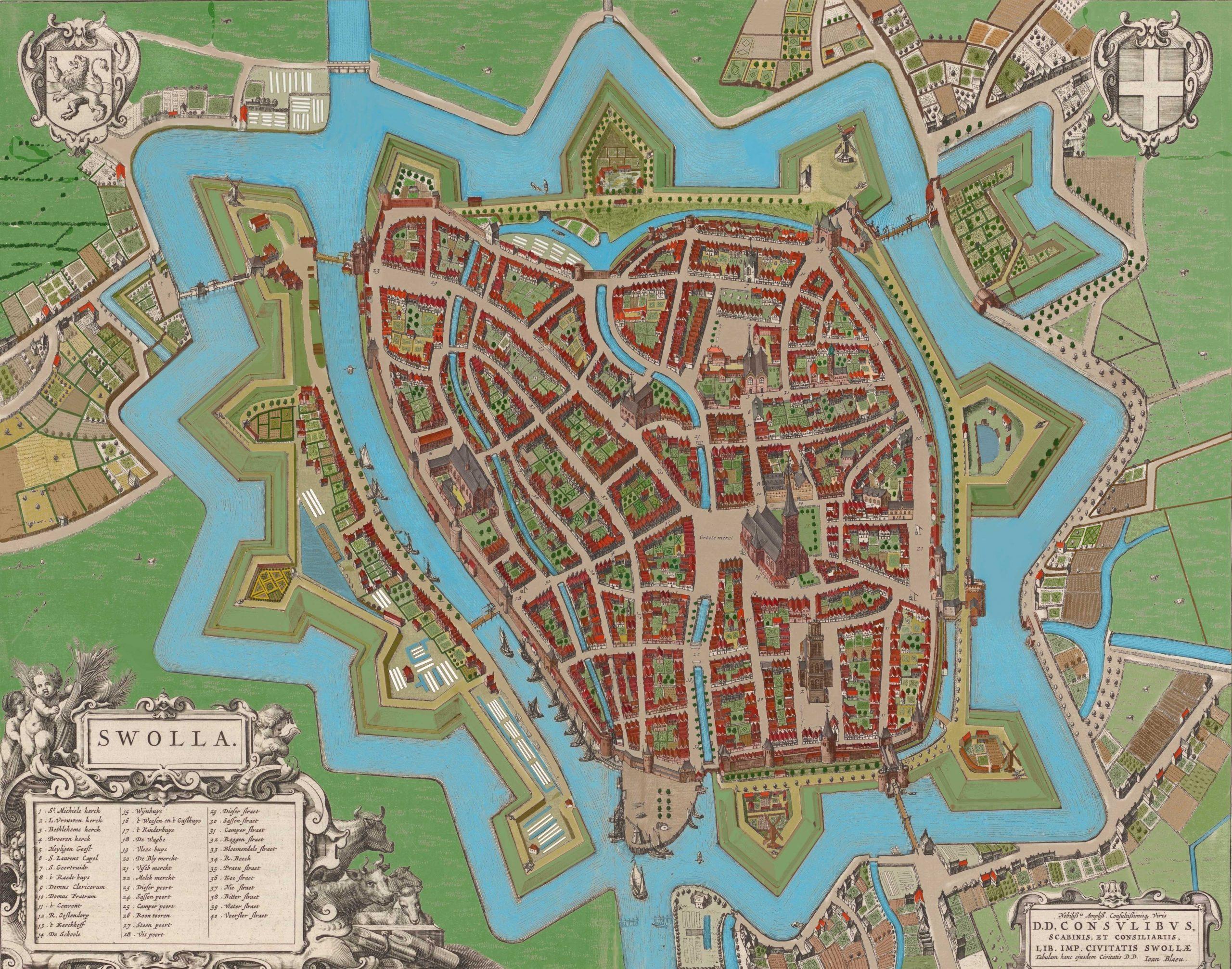 Zwolle, Joan Bleau gekleurd in opboouw